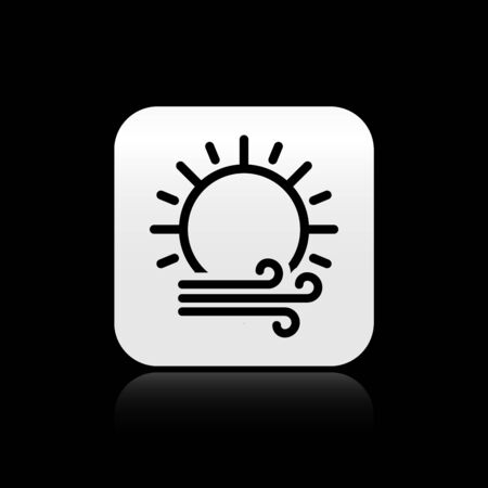 Black Wind and sun icon isolated on black background. Windy weather. Silver square button. Vector Illustration