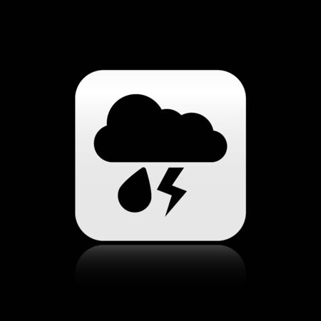 Black Cloud with rain and lightning icon isolated on black background. Rain cloud precipitation with rain drops.Weather icon of storm. Silver square button. Vector Illustration Çizim