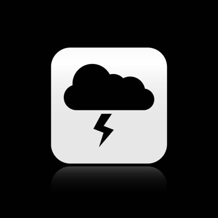 Black Storm icon isolated on black background. Cloud and lightning sign. Weather icon of storm. Silver square button. Vector Illustration