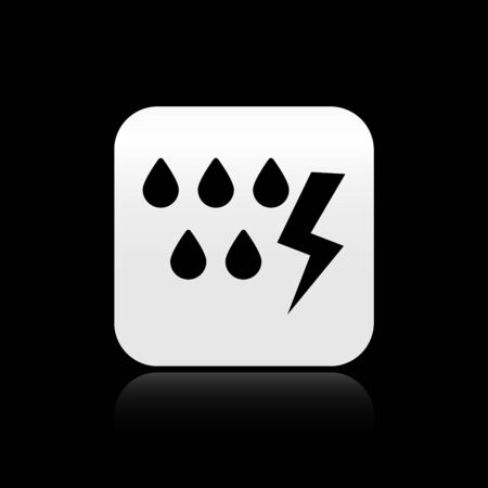 Black Storm icon isolated on black background. Drop and lightning sign. Weather icon of storm. Silver square button. Vector Illustration Çizim