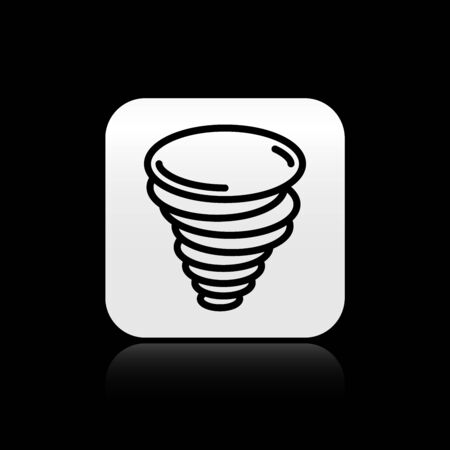 Black Tornado icon isolated on black background. Cyclone, whirlwind, storm funnel, hurricane wind or twister weather icon. Silver square button. Vector Illustration Illustration