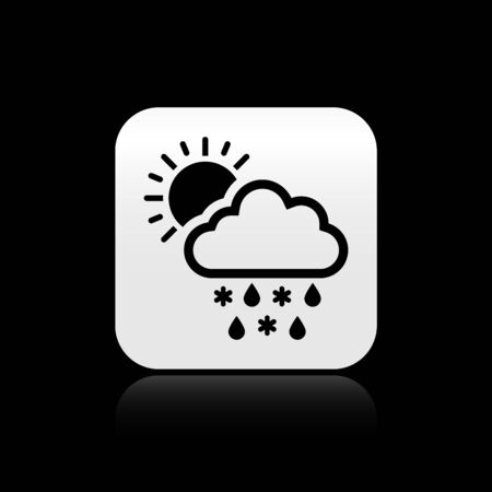 Black Cloud with snow, rain and sun icon isolated on black background. Weather icon. Silver square button. Vector Illustration