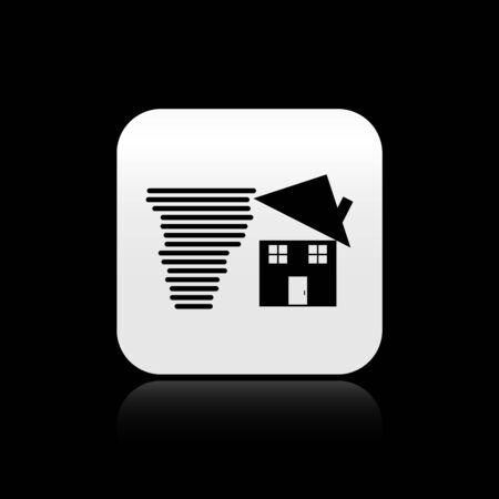 Black Tornado swirl damages house roof icon isolated on black background. Cyclone, whirlwind, storm funnel, hurricane wind icon. Silver square button. Vector Illustration Stok Fotoğraf - 131360429