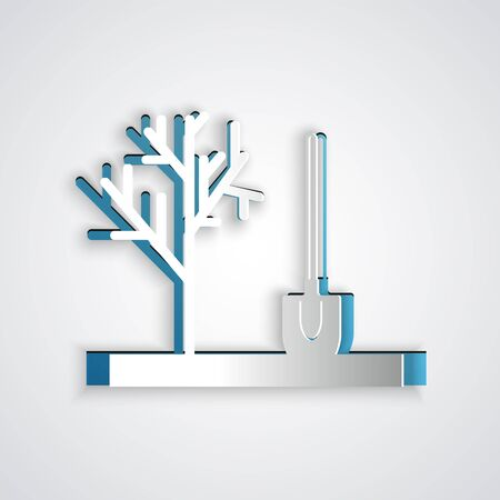 Paper cut Planting a tree in the ground icon isolated on grey background. Gardening, agriculture, caring for environment. Paper art style. Vector Illustration