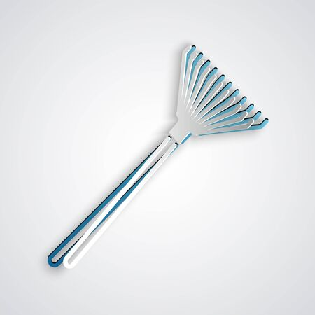 Paper cut Garden rake for leaves icon isolated on grey background. Tool for horticulture, agriculture, farming. Ground cultivator. Paper art style. Vector Illustration
