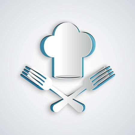 Paper cut Chef hat and crossed fork icon isolated on grey background. Cooking symbol. Restaurant menu. Cooks hat. Paper art style. Vector Illustration
