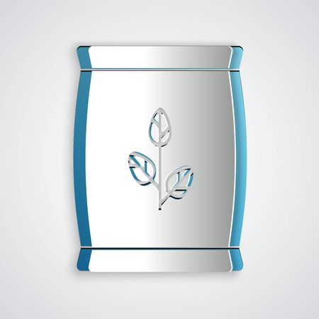 Paper cut Fertilizer bag icon isolated on grey background. Paper art style. Vector Illustration