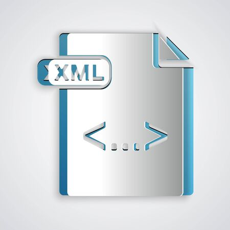 Paper cut XML file document. Download xml button icon isolated on grey background. XML file symbol. Paper art style. Vector Illustration 向量圖像