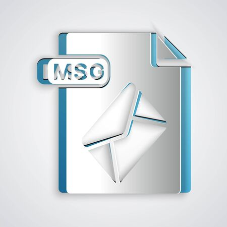 Paper cut MSG file document. Download msg button icon isolated on grey background. MSG file symbol. Paper art style. Vector Illustration 向量圖像