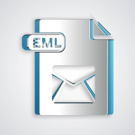 Paper cut EML file document. Download eml button icon isolated on grey background. EML file symbol. Paper art style. Vector Illustration