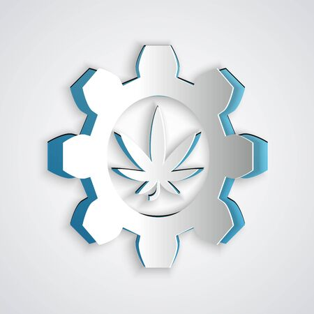 Paper cut Chemical test tube with marijuana or cannabis leaf icon isolated on grey background. Research concept. Laboratory CBD oil concept. Paper art style. Vector Illustration
