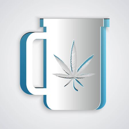 Paper cut Cup tea with marijuana or cannabis leaf icon isolated on grey background. Marijuana legalization. Hemp symbol. Paper art style. Vector Illustration Illustration