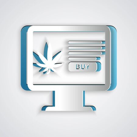 Paper cut Computer monitor and medical marijuana or cannabis leaf icon isolated on grey background. Online buying symbol. Supermarket basket. Paper art style. Vector Illustration Illustration