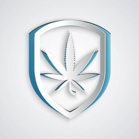 Paper cut Shield and marijuana or cannabis leaf icon isolated on grey background. Marijuana legalization. Hemp symbol. Paper art style. Vector Illustration