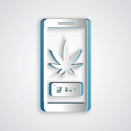 Paper cut Mobile phone and medical marijuana or cannabis leaf icon isolated on grey background. Online buying symbol. Supermarket basket. Paper art style. Vector Illustration