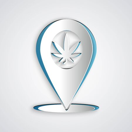 Paper cut Map pointer and marijuana or cannabis leaf icon isolated on grey background. Hemp symbol. Paper art style. Vector Illustration Illustration