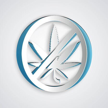 Paper cut Stop marijuana or cannabis leaf icon isolated on grey background. No smoking marijuana. Hemp symbol. Paper art style. Vector Illustration Illustration