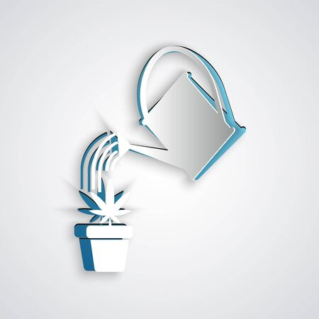 Paper cut Watering can sprays water drops above marijuana or cannabis plant in pot icon isolated on grey background. Marijuana growing concept. Paper art style. Vector Illustration Illustration