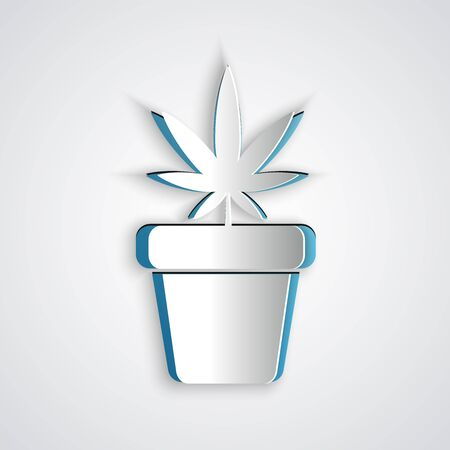 Paper cut Medical marijuana or cannabis plant in pot icon isolated on grey background. Marijuana growing concept. Hemp potted plant. Paper art style. Vector Illustration Illustration