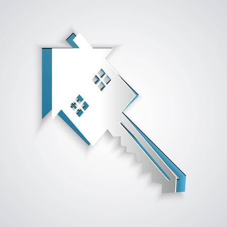 Paper cut House with key icon isolated on grey background. The concept of the house turnkey. Paper art style. Vector Illustration