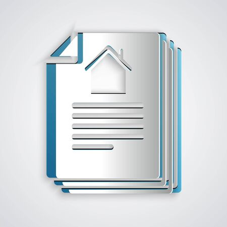 Paper cut House contract icon isolated on grey background. Contract creation service, document formation, application form composition. Paper art style. Vector Illustration