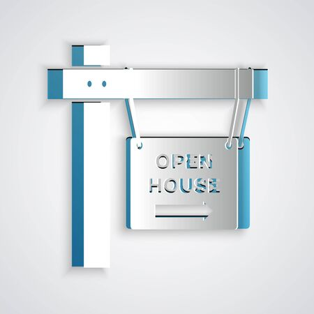 Paper cut Hanging sign with text Open house icon isolated on grey background. Signboard with text Open house. Paper art style. Vector Illustration