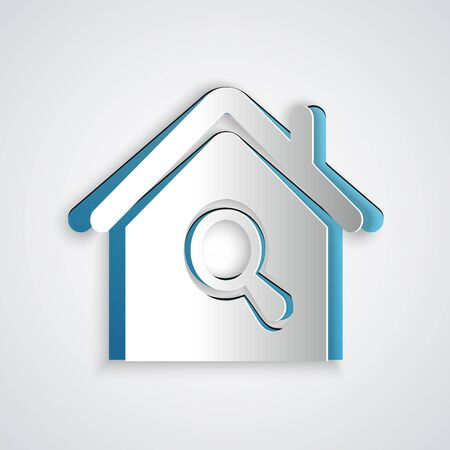 Paper cut Search house icon isolated on grey background. Real estate symbol of a house under magnifying glass. Paper art style. Vector Illustration Ilustração