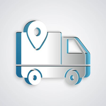 Paper cut Delivery tracking icon isolated on grey background. Parcel tracking. Paper art style. Vector Illustration 向量圖像