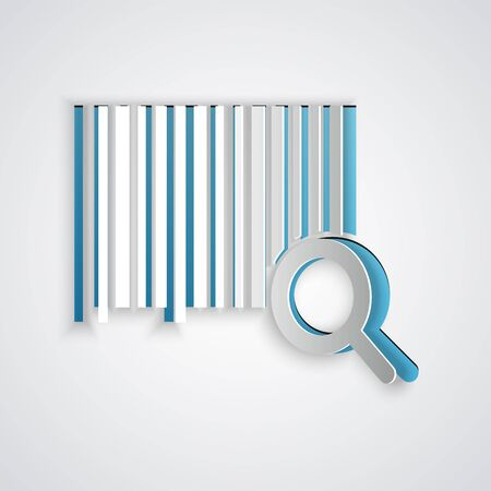 Paper cut Search barcode icon isolated on grey background. Magnifying glass searching barcode. Barcode label sticker. Research barcode. Paper art style. Vector Illustration