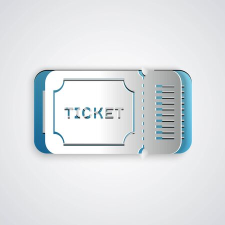 Paper cut Ticket icon isolated on grey background. Paper art style. Vector Illustration