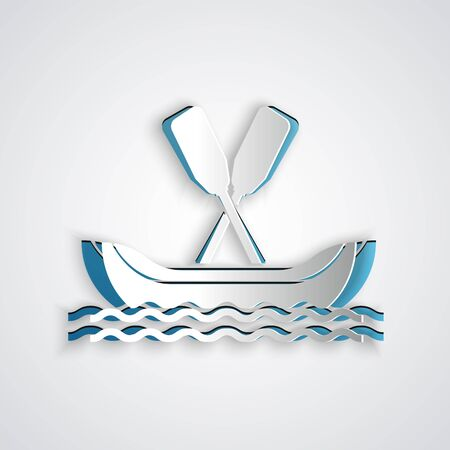 Paper cut Rafting boat icon isolated on grey background. Kayak with paddles. Water sports, extreme sports, holiday, vacation, team building. Paper art style. Vector Illustration