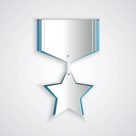Paper cut Military reward medal icon isolated on grey background. Army sign. Paper art style. Vector Illustration