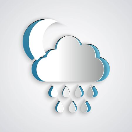 Paper cut Cloud with rain and moon icon isolated on grey background. Rain cloud precipitation with rain drops. Paper art style. Vector Illustration
