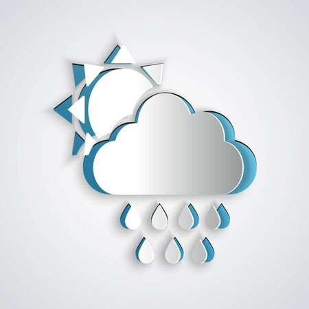 Paper cut Cloud with rain and sun icon isolated on grey background. Rain cloud precipitation with rain drops. Paper art style. Vector Illustration
