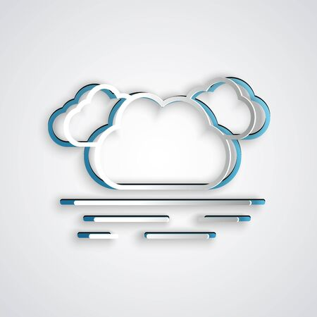 Paper cut Cloud icon isolated on grey background. Paper art style. Vector Illustration