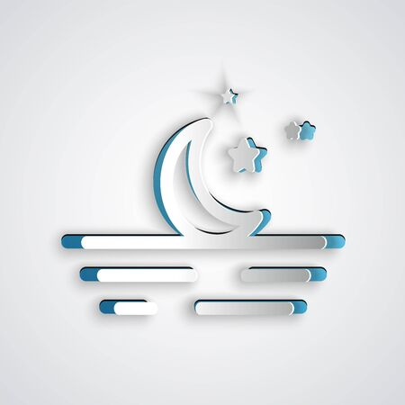 Paper cut Moon and stars icon isolated on grey background. Paper art style. Vector Illustration