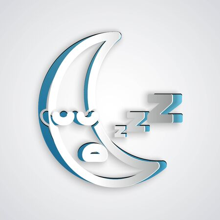 Paper cut Moon icon isolated on grey background. Cloudy night sign. Sleep dreams symbol. Night or bed time sign. Paper art style. Vector Illustration