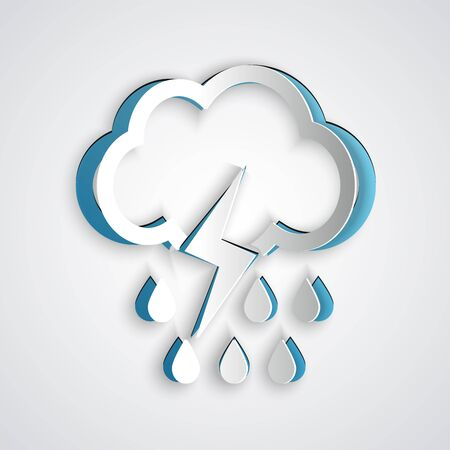 Paper cut Cloud with rain and lightning icon isolated on grey background. Rain cloud precipitation with rain drops.Weather icon of storm. Paper art style. Vector Illustration