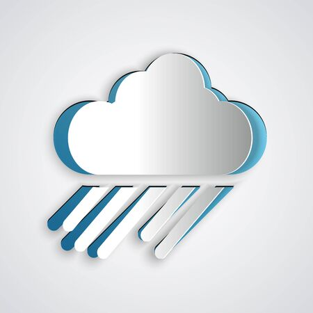 Paper cut Cloud with rain icon isolated on grey background. Rain cloud precipitation with rain drops. Paper art style. Vector Illustration