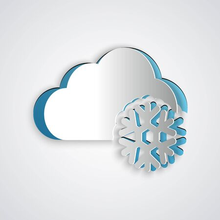 Paper cut Cloud with snow icon isolated on grey background. Cloud with snowflakes. Single weather icon. Snowing sign. Paper art style. Vector Illustration