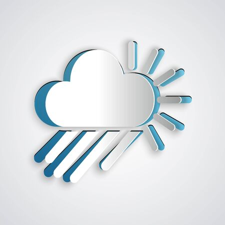 Paper cut Cloudy with rain and sun icon isolated on grey background. Rain cloud precipitation with rain drops. Paper art style. Vector Illustration