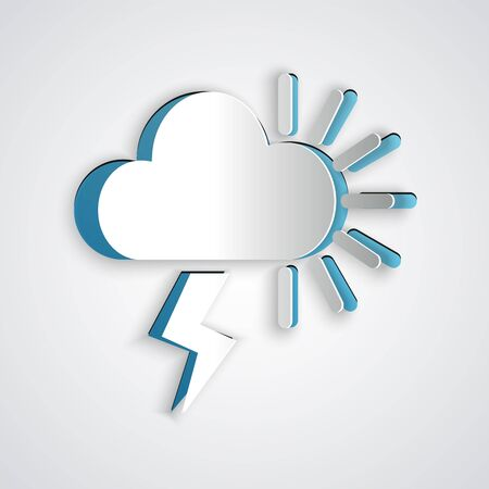 Paper cut Storm icon isolated on grey background. Cloudy with lightning and sun sign. Weather icon of storm. Paper art style. Vector Illustration
