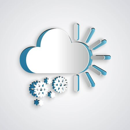 Paper cut Cloudy with snow icon isolated on grey background. Cloud with snowflakes. Single weather icon. Snowing sign. Paper art style. Vector Illustration