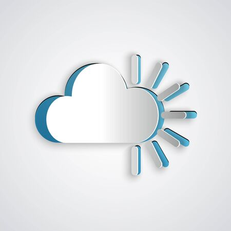 Paper cut Cloudy icon isolated on grey background. Paper art style. Vector Illustration Ilustrace