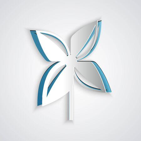 Icono de molinillo de papel cortado aislado sobre fondo gris. Icono de juguete de molino de viento. Estilo de arte de papel. Ilustración vectorial