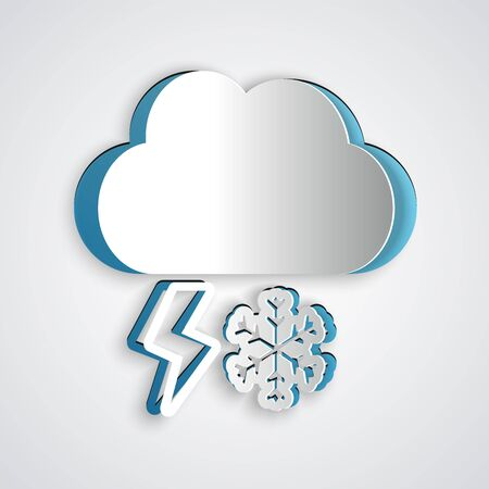 Paper cut Cloud with snow and lightning icon isolated on grey background. Cloud with snowflakes. Single weather icon. Snowing sign. Paper art style. Vector Illustration