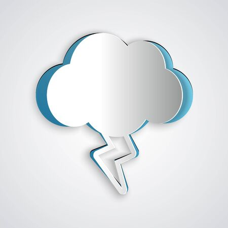 Paper cut Storm icon isolated on grey background. Cloud and lightning sign. Weather icon of storm. Paper art style. Vector Illustration Illusztráció