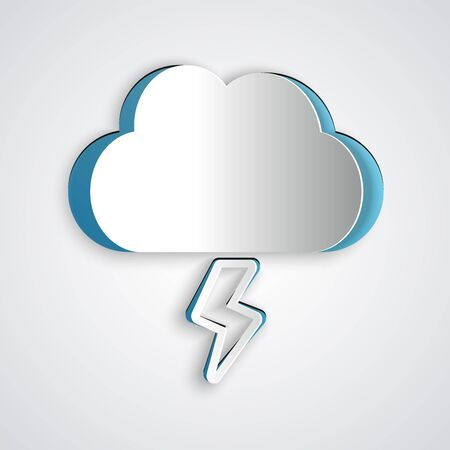 Paper cut Storm icon isolated on grey background. Cloud and lightning sign. Weather icon of storm. Paper art style. Vector Illustration Illustration