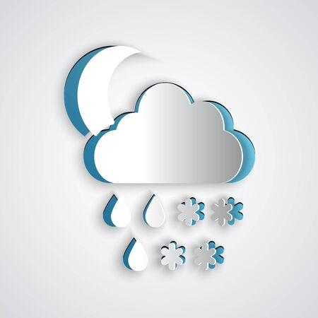 Paper cut Cloud with snow, rain and moon icon isolated on grey background. Weather icon. Paper art style. Vector Illustration