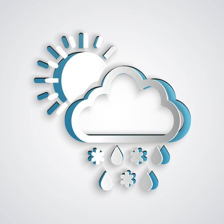 Paper cut Cloud with snow, rain and sun icon isolated on grey background. Weather icon. Paper art style. Vector Illustration Illusztráció